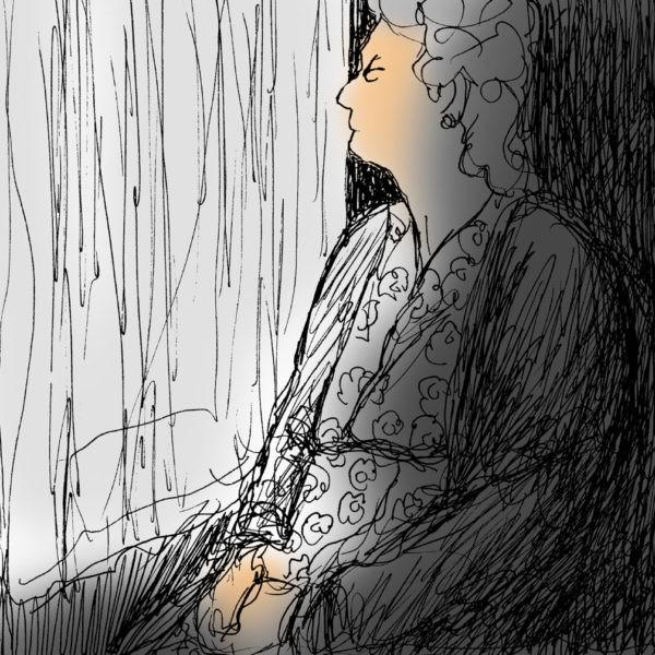 Elderly lady alone